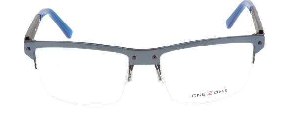 One 2 One Herren Metall Halbrandbrille grau blau