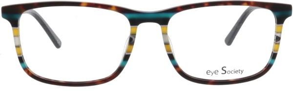Klassische Unisex Kunststoffbrille von Eye Society in havanna anthrazit und einem auffälligen Streifenmuster
